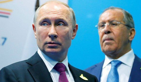 Putin (left) with Russian Federation Foreign Minister Sergei Lavrov  (right). Russian officials will normally vehemently deny launching cyber  attacks.
